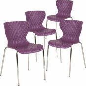 CARNEGY AVENUE PURPLE PLASTIC STACK CHAIRS (SET OF 4)