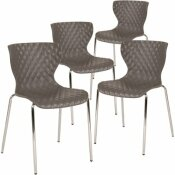 CARNEGY AVENUE GRAY PLASTIC STACK CHAIRS (SET OF 4)