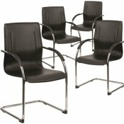 CARNEGY AVENUE BLACK VINYL SIDE CHAIRS (SET OF 4)
