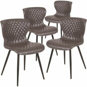CARNEGY AVENUE GRAY VINYL VINYL PARTY CHAIRS (SET OF 4)