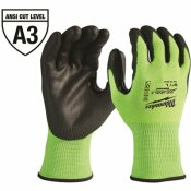 MILWAUKEE LARGE HIGH VISIBILITY LEVEL 3 CUT RESISTANT POLYURETHANE DIPPED WORK GLOVES