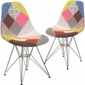 CARNEGY AVENUE MILAN PATCHWORK FABRIC PARTY CHAIRS (SET OF 2)