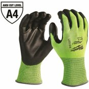 MILWAUKEE LARGE HIGH VISIBILITY LEVEL 4 CUT RESISTANT POLYURETHANE DIPPED WORK GLOVES