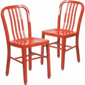 CARNEGY AVENUE METAL OUTDOOR DINING CHAIR IN RED (SET OF 2)