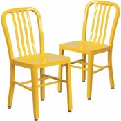 CARNEGY AVENUE METAL OUTDOOR DINING CHAIR IN YELLOW (SET OF 2)