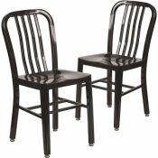 CARNEGY AVENUE METAL OUTDOOR DINING CHAIR IN BLACK (SET OF 2)