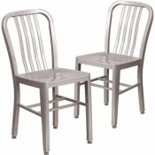 CARNEGY AVENUE METAL OUTDOOR DINING CHAIR IN SILVER (SET OF 2)