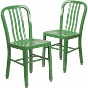 CARNEGY AVENUE METAL OUTDOOR DINING CHAIR IN GREEN (SET OF 2)