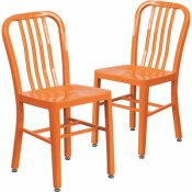 CARNEGY AVENUE METAL OUTDOOR DINING CHAIR IN ORANGE (SET OF 2)