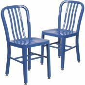 CARNEGY AVENUE METAL OUTDOOR DINING CHAIR IN BLUE (SET OF 2)