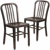 CARNEGY AVENUE METAL OUTDOOR DINING CHAIR IN BLACK-ANTIQUE GOLD (SET OF 2)