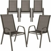 CARNEGY AVENUE STACKABLE METAL OUTDOOR DINING CHAIR IN BLACK (SET OF 5)