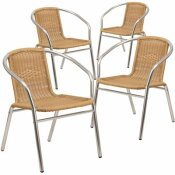 CARNEGY AVENUE STACKABLE METAL OUTDOOR DINING CHAIR IN ALUMINUM AND BEIGE
