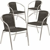 CARNEGY AVENUE STACKABLE METAL OUTDOOR DINING CHAIR IN ALUMINUM AND BLACK (SET OF 4)