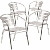 CARNEGY AVENUE STACKABLE METAL OUTDOOR DINING CHAIR IN ALUMINUM (SET OF 4)