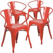 CARNEGY AVENUE STACKABLE METAL OUTDOOR DINING CHAIR IN RED (SET OF 4)