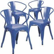 CARNEGY AVENUE STACKABLE METAL OUTDOOR DINING CHAIR IN BLUE (SET OF 4)