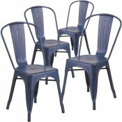 CARNEGY AVENUE STACKABLE METAL OUTDOOR DINING CHAIR IN ANTIQUE BLUE (SET OF 4)