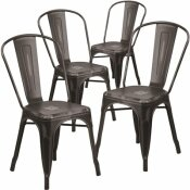 CARNEGY AVENUE STACKABLE METAL OUTDOOR DINING CHAIR IN BLACK (SET OF 4)