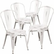 CARNEGY AVENUE STACKABLE METAL OUTDOOR DINING CHAIR IN WHITE (SET OF 4)