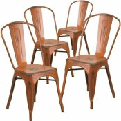 CARNEGY AVENUE STACKABLE METAL OUTDOOR DINING CHAIR IN ORANGE (SET OF 4)