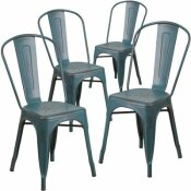 CARNEGY AVENUE STACKABLE METAL OUTDOOR DINING CHAIR IN KELLY BLUE-TEAL (SET OF 4)