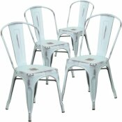 CARNEGY AVENUE STACKABLE METAL OUTDOOR DINING CHAIR IN GREEN-BLUE (SET OF 4)