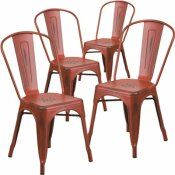 CARNEGY AVENUE STACKABLE METAL OUTDOOR DINING CHAIR IN KELLY RED (SET OF 4)
