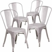 CARNEGY AVENUE STACKABLE METAL OUTDOOR DINING CHAIR IN SILVER (SET OF 4)