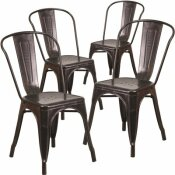 CARNEGY AVENUE STACKABLE METAL OUTDOOR DINING CHAIR IN BLACK-ANTIQUE GOLD (SET OF 4)
