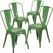 CARNEGY AVENUE STACKABLE METAL OUTDOOR DINING CHAIR IN GREEN (SET OF 4)