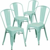 CARNEGY AVENUE STACKABLE METAL OUTDOOR DINING CHAIR IN MINT GREEN (SET OF 4)