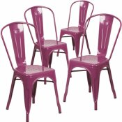 CARNEGY AVENUE STACKABLE METAL OUTDOOR DINING CHAIR IN PURPLE (SET OF 4)