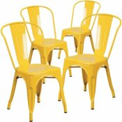 CARNEGY AVENUE STACKABLE METAL OUTDOOR DINING CHAIR IN YELLOW (SET OF 4)