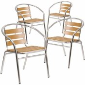 CARNEGY AVENUE STACKABLE METAL BISTRO OUTDOOR DINING CHAIR IN ALUMINUM (SET OF 4)