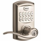 KWIKSET 917 SMARTCODE SATIN NICKEL ELECTRONIC SINGLE-CYLINDER TUSTIN DOOR LEVER FEATURING SMARTKEY SECURITY