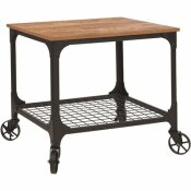 CARNEGY AVENUE RUSTIC BAR CART WITH WHEELS
