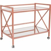 CARNEGY AVENUE CLEAR/ROSE GOLD BAR CART WITH WHEELS