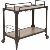 CARNEGY AVENUE LIGHT OAK BAR CART WITH WHEELS