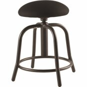 NATIONAL PUBLIC SEATING 18 IN. - 25 IN., 3 IN. FABRIC PADDED BLACK SEAT, BLACK FRAME HEIGHT ADJUSTABLE DESIGNER STOOL