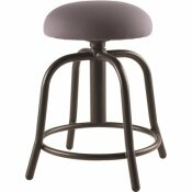 NATIONAL PUBLIC SEATING 18 IN. - 25 IN., 3 IN. FABRIC PADDED CHARCOAL SEAT, BLACK FRAME HEIGHT ADJUSTABLE DESIGNER STOOL