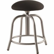 NATIONAL PUBLIC SEATING 18 IN. - 25 IN., 3 IN. FABRIC PADDED BLACK SEAT, GREY FRAME HEIGHT ADJUSTABLE DESIGNER STOOL