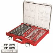 MILWAUKEE 3/8 IN. AND 1/4 IN. DRIVE SAE/METRIC RATCHET AND SOCKET MECHANICS TOOL SET WITH PACKOUT CASE (106-PIECE)