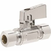 HOMEWERKS WORLDWIDE 3/8 IN. O.D. COMPRESSION INLET X 3/8 IN. O.D. COMPRESSION OUTLET 1/4-TURN STRAIGHT VALVE, CHROME - HOMEWERKS WORLDWIDE PART #: 638 6200QT