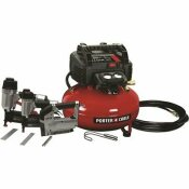6 GAL. 150 PSI PORTABLE ELECTRIC AIR COMPRESSOR, 16-GAUGE NAILER, 18-GAUGE NAILER AND 3/8 IN. STAPLER COMBO KIT (3-TOOL) - PORTER-CABLE PART #: PCFP12234
