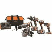 RIDGID 18-VOLT LITHIUM-ION CORDLESS 5-TOOL COMBO KIT WITH (2) 4.0 AH BATTERIES 18-VOLT CHARGER AND CONTRACTOR'S BAG - RIDGID PART #: R9652