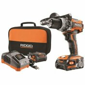 RIDGID 18-VOLT LITHIUM-ION CORDLESS BRUSHLESS 1/2 IN. COMPACT HAMMER DRILL KIT WITH (2) 2.0 AH BATTERIES CHARGER AND BAG - RIDGID PART #: R86116K