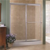 FOREMOST TIDES 44 IN. TO 48 IN. X 70 IN. H FRAMED SLIDING SHOWER DOOR IN SILVER AND OBSCURE GLASS WITHOUT HANDLE