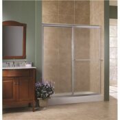 FOREMOST TIDES 56 IN. TO 60 IN. X 70 IN. H FRAMED SLIDING SHOWER DOOR IN SILVER AND OBSCURE GLASS WITHOUT HANDLE