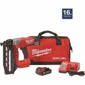 M18 FUEL 18-VOLT 16-GAUGE LITHIUM-ION BRUSHLESS CORDLESS STRAIGHT FINISH NAILER KIT W/ONE 2.0 AH BATTERY, CHARGER & BAG - MILWAUKEE PART #: 2741-21CT